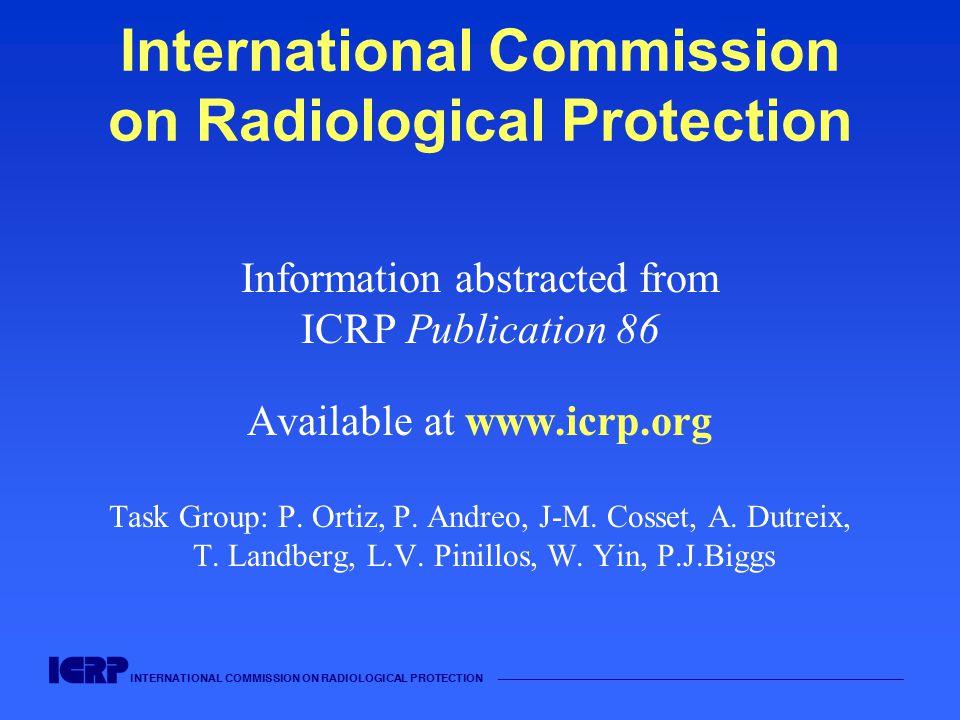 INTERNATIONAL COMMISSION ON RADIOLOGICAL PROTECTION —————————————————————————————————————— International Commission on Radiological Protection Informa