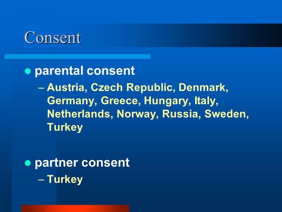 Consent parental consent –Austria, Czech Republic, Denmark, Germany, Greece, Hungary, Italy, Netherlands, Norway, Russia, Sweden, Turkey partner conse