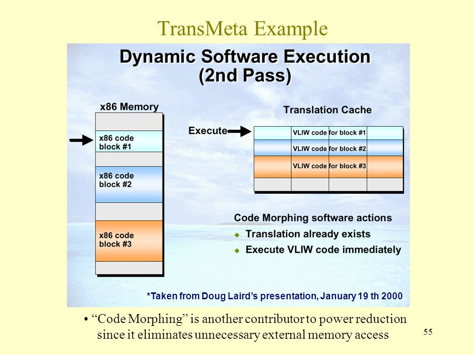 55 TransMeta Example Code Morphing is another contributor to power reduction since it eliminates unnecessary external memory access *Taken from Doug Laird's presentation, January 19 th 2000