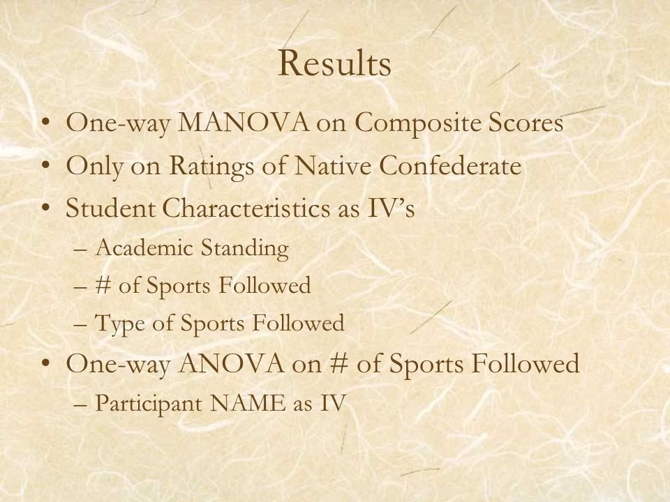 Results One-way MANOVA on Composite Scores Only on Ratings of Native Confederate Student Characteristics as IV's –Academic Standing –# of Sports Followed –Type of Sports Followed One-way ANOVA on # of Sports Followed –Participant NAME as IV