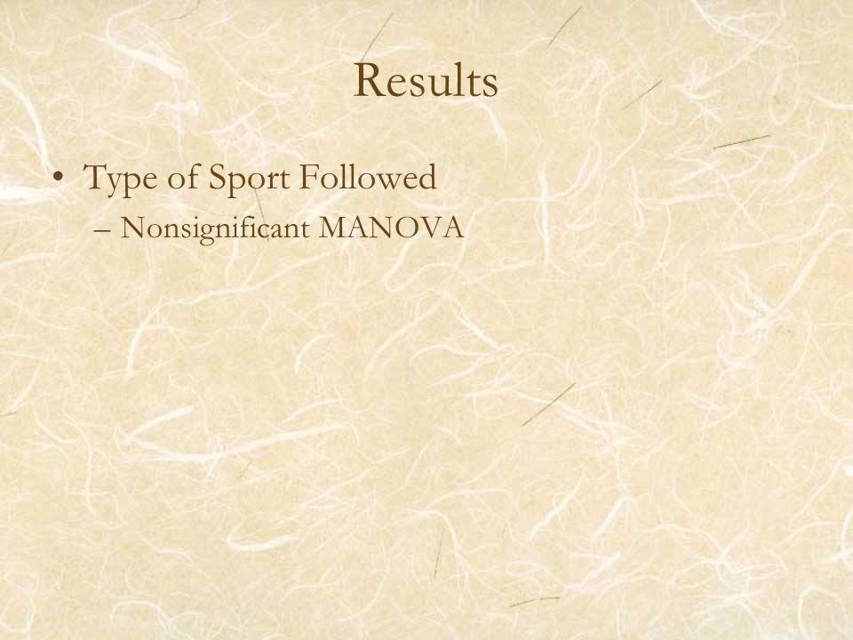 Results Type of Sport Followed –Nonsignificant MANOVA