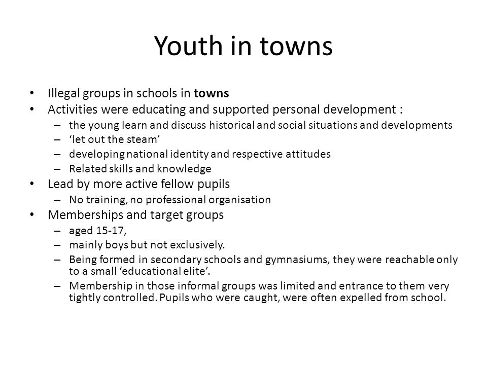 Youth in towns Illegal groups in schools in towns Activities were educating and supported personal development : – the young learn and discuss historical and social situations and developments – 'let out the steam' – developing national identity and respective attitudes – Related skills and knowledge Lead by more active fellow pupils – No training, no professional organisation Memberships and target groups – aged 15-17, – mainly boys but not exclusively.