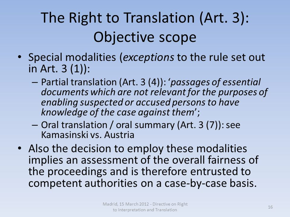 The Right to Translation (Art.