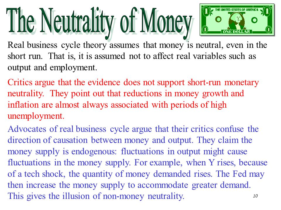 Chapter Nineteen10 Real business cycle theory assumes that money is neutral, even in the short run. That is, it is assumed not to affect real variable