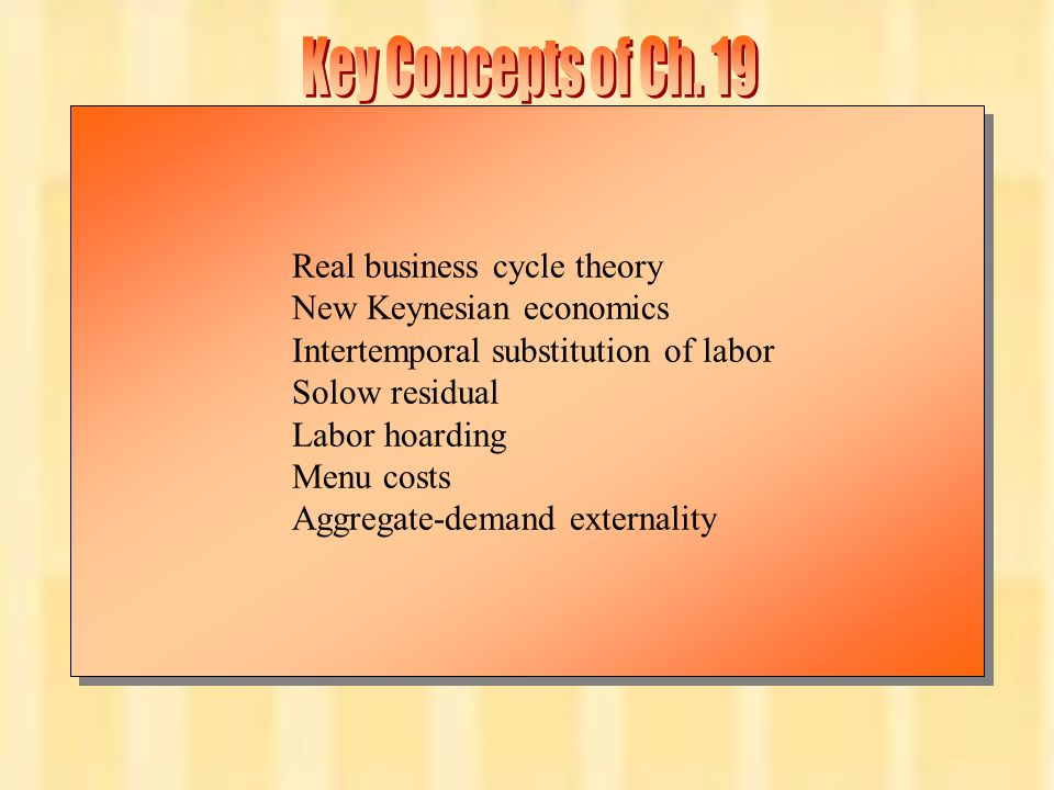 Chapter Nineteen16 Real business cycle theory New Keynesian economics Intertemporal substitution of labor Solow residual Labor hoarding Menu costs Agg