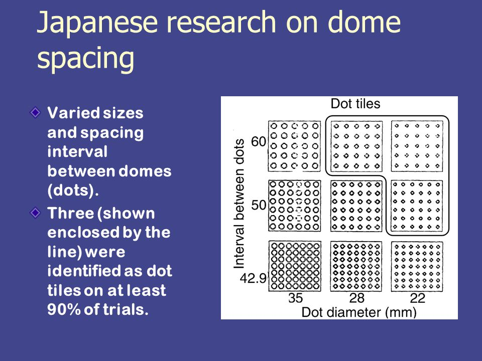 Japanese research on dome spacing Varied sizes and spacing interval between domes (dots).