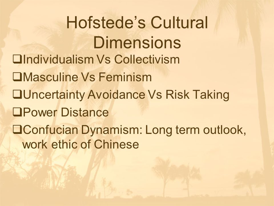 Hofstede's Cultural Dimensions  Individualism Vs Collectivism  Masculine Vs Feminism  Uncertainty Avoidance Vs Risk Taking  Power Distance  Confu