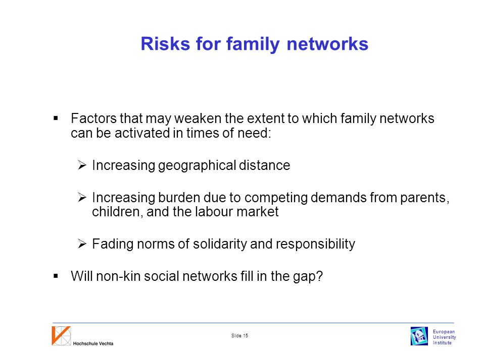 European University Institute Slide 15 Risks for family networks  Factors that may weaken the extent to which family networks can be activated in times of need:  Increasing geographical distance  Increasing burden due to competing demands from parents, children, and the labour market  Fading norms of solidarity and responsibility  Will non-kin social networks fill in the gap