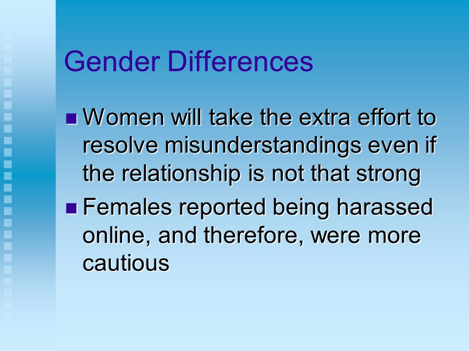 Gender Differences Women will take the extra effort to resolve misunderstandings even if the relationship is not that strong Women will take the extra effort to resolve misunderstandings even if the relationship is not that strong Females reported being harassed online, and therefore, were more cautious Females reported being harassed online, and therefore, were more cautious