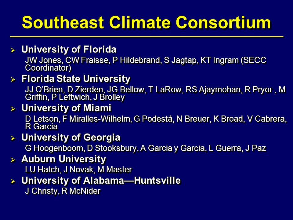 Climate Consortium Southeast Climate Consortium   University of Florida JW Jones, CW Fraisse, P Hildebrand, S Jagtap, KT Ingram (SECC Coordinator) 