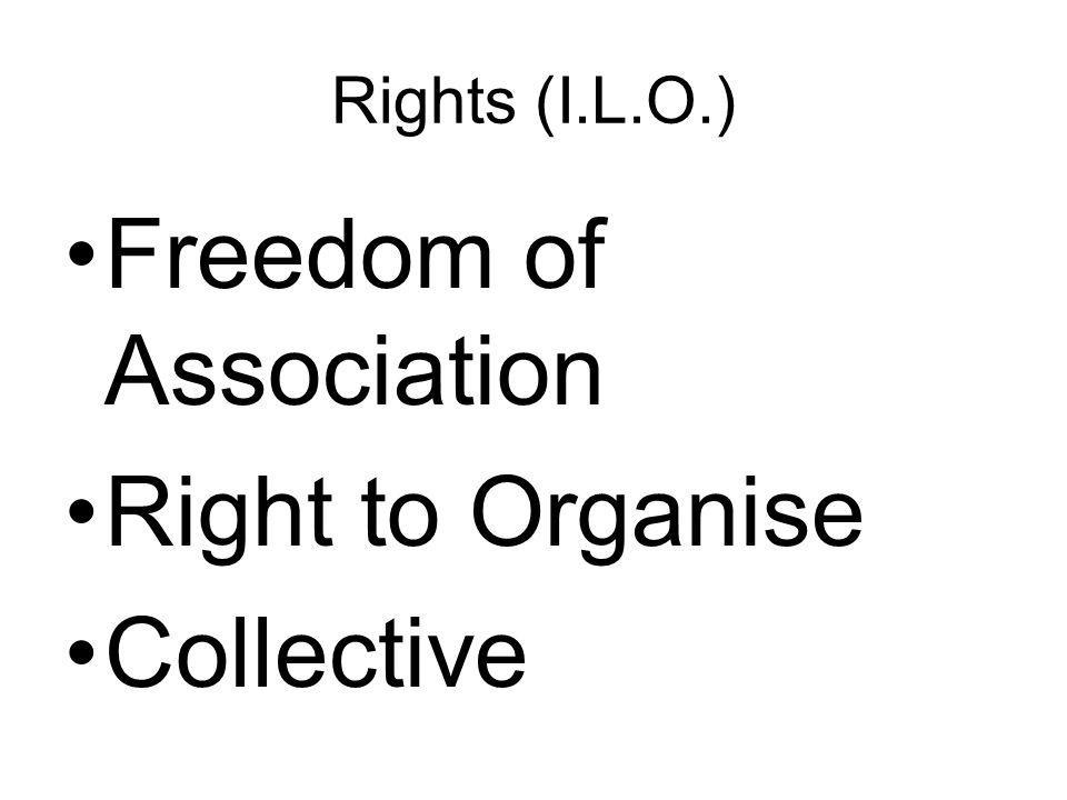 Rights (I.L.O.) Freedom of Association Right to Organise Collective