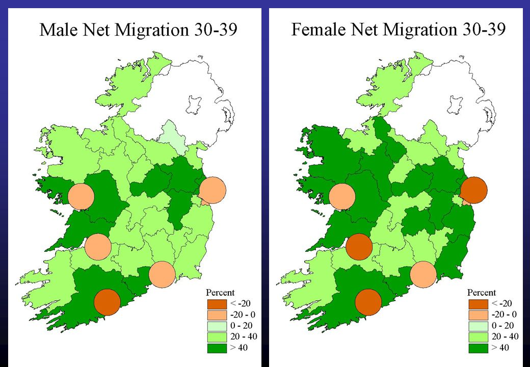 18 External Out Migration The net migration patterns in general suggest that the major urban areas attract younger people, who subsequently spill over into adjoining areas when they become home owners.