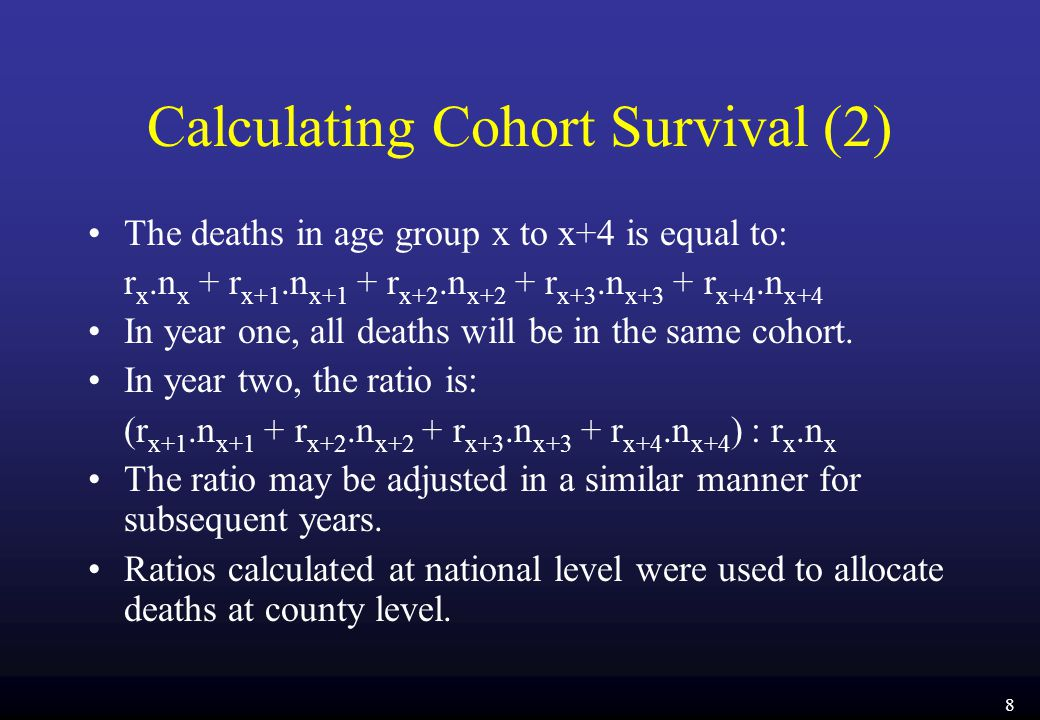 8 Calculating Cohort Survival (2) The deaths in age group x to x+4 is equal to: r x.n x + r x+1.n x+1 + r x+2.n x+2 + r x+3.n x+3 + r x+4.n x+4 In year one, all deaths will be in the same cohort.