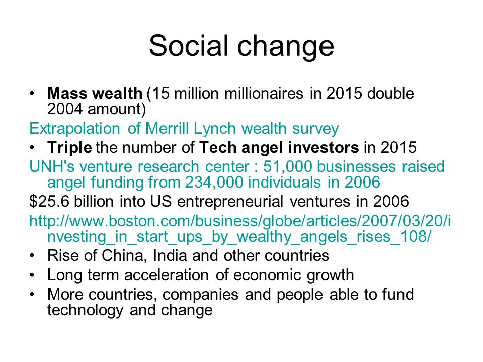 Social change Mass wealth (15 million millionaires in 2015 double 2004 amount) Extrapolation of Merrill Lynch wealth survey Triple the number of Tech angel investors in 2015 UNH s venture research center : 51,000 businesses raised angel funding from 234,000 individuals in 2006 $25.6 billion into US entrepreneurial ventures in 2006 http://www.boston.com/business/globe/articles/2007/03/20/i nvesting_in_start_ups_by_wealthy_angels_rises_108/ Rise of China, India and other countries Long term acceleration of economic growth More countries, companies and people able to fund technology and change