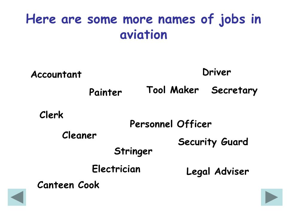 Here are some more names of jobs in aviation Cleaner Driver Painter Electrician Security Guard Tool Maker Canteen Cook Personnel Officer Legal Adviser Accountant Secretary Clerk Stringer