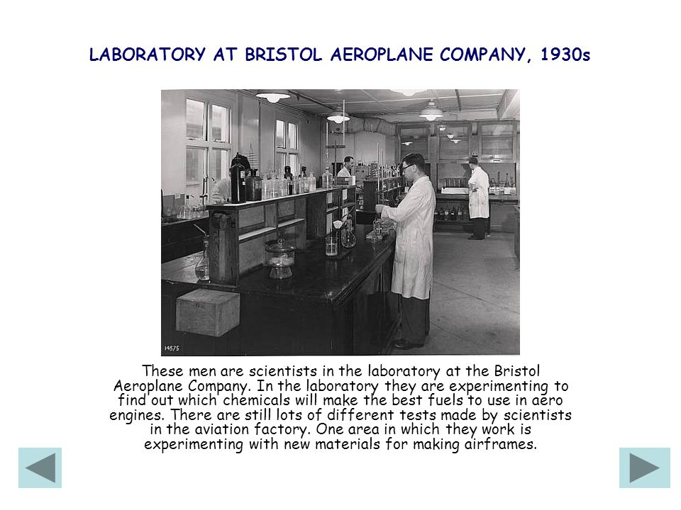 LABORATORY AT BRISTOL AEROPLANE COMPANY, 1930s These men are scientists in the laboratory at the Bristol Aeroplane Company.