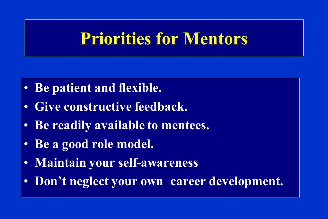 Priorities for Mentors Be patient and flexible. Give constructive feedback.