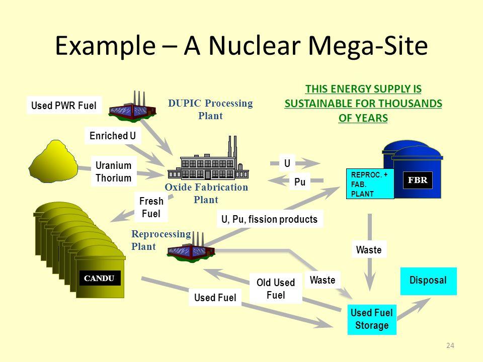 Oxide Fabrication Plant Uranium Thorium Fresh Fuel CANDU Enriched U Used PWR Fuel DUPIC Processing Plant Waste Reprocessing Plant FBR REPROC. + FAB. P