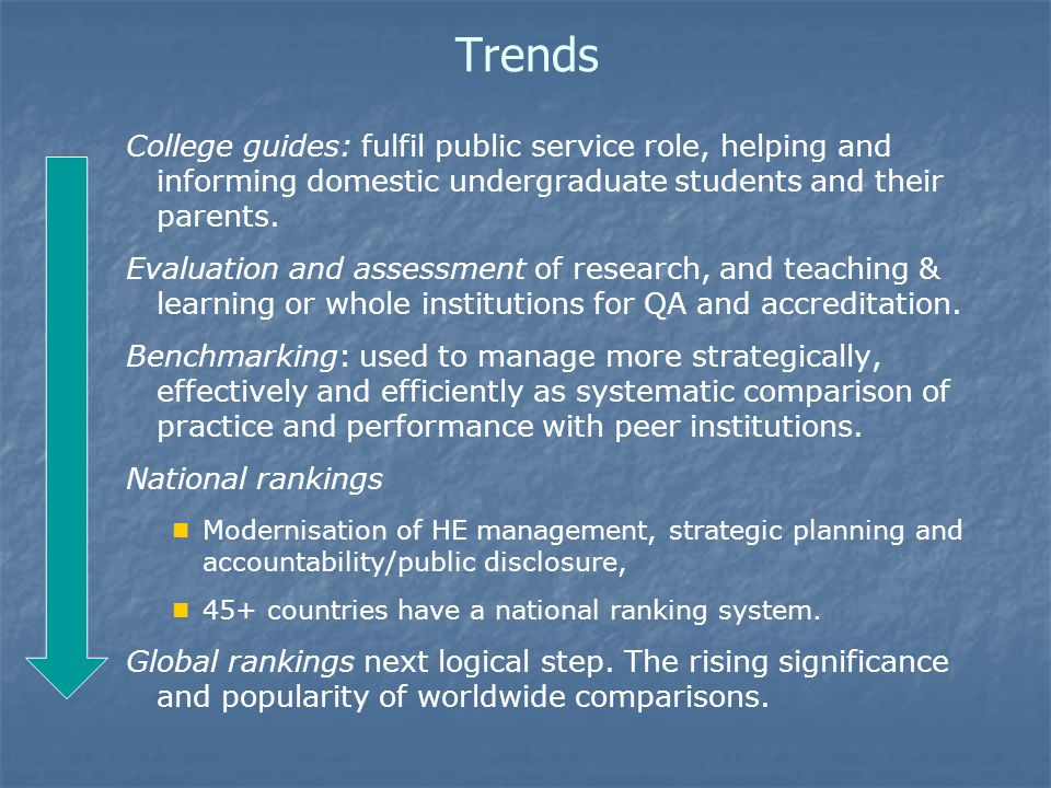 Trends College guides: fulfil public service role, helping and informing domestic undergraduate students and their parents.