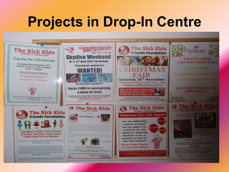 Projects in Drop-In Centre