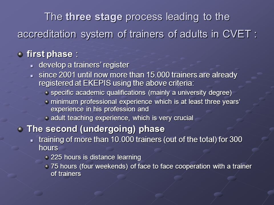 The three stage process leading to the accreditation system of trainers of adults in CVET : first phase : develop a trainers' register develop a train