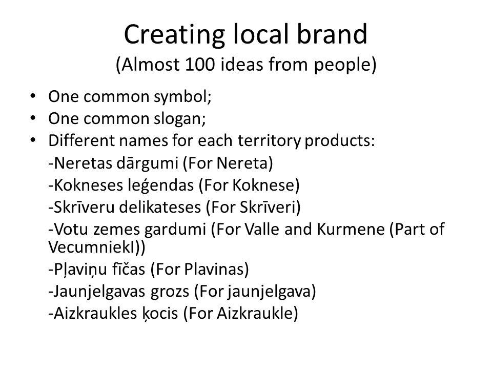 Creating local brand (Almost 100 ideas from people) One common symbol; One common slogan; Different names for each territory products: -Neretas dārgumi (For Nereta) -Kokneses leģendas (For Koknese) -Skrīveru delikateses (For Skrīveri) -Votu zemes gardumi (For Valle and Kurmene (Part of VecumniekI)) -Pļaviņu fīčas (For Plavinas) -Jaunjelgavas grozs (For jaunjelgava) -Aizkraukles ķocis (For Aizkraukle)
