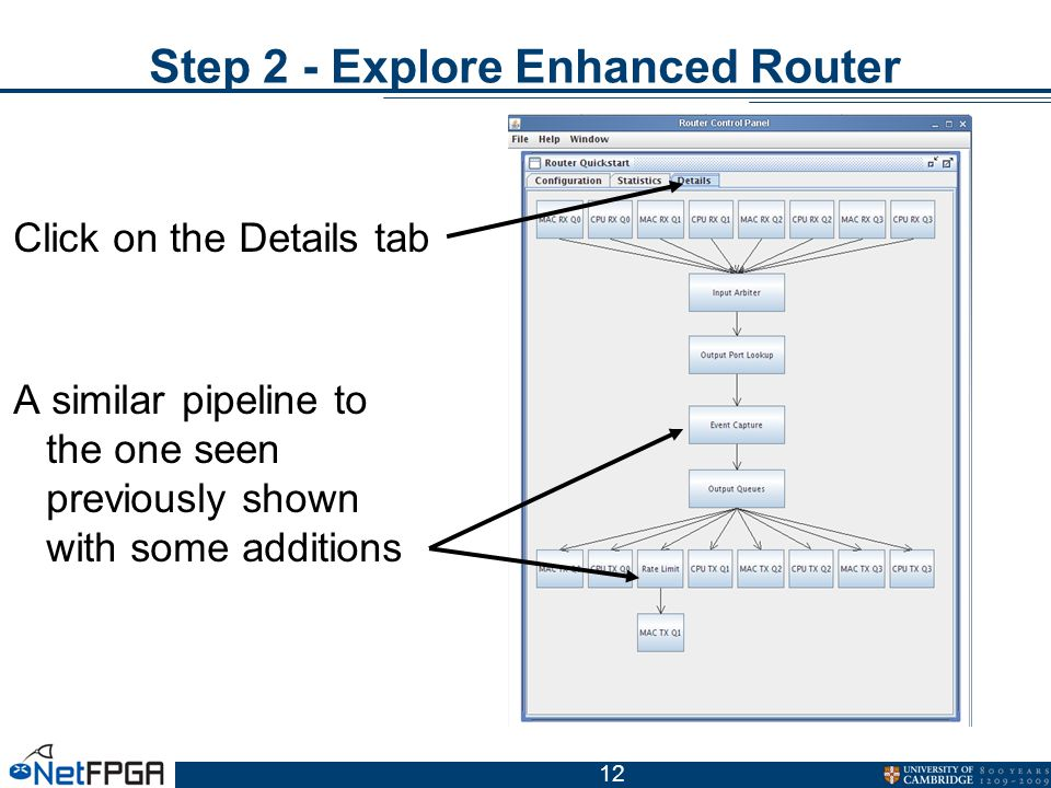 12 Step 2 - Explore Enhanced Router Click on the Details tab A similar pipeline to the one seen previously shown with some additions
