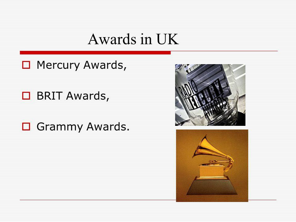 Awards in UK  Mercury Awards,  BRIT Awards,  Grammy Awards.