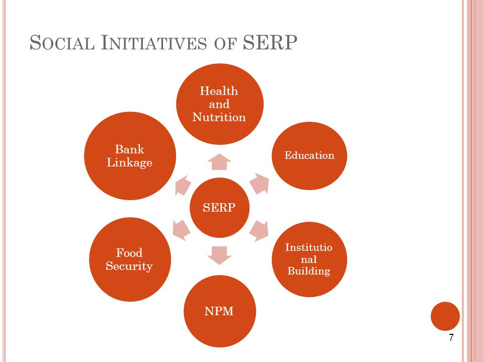 S OCIAL I NITIATIVES OF SERP SERP Health and Nutrition Education Institutio nal Building NPM Food Security Bank Linkage 7