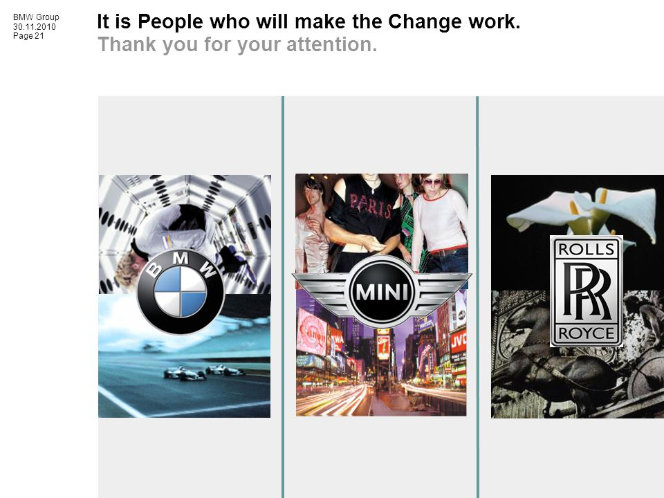 BMW Group 30.11.2010 Page 21 It is People who will make the Change work.