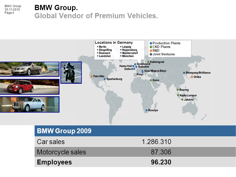 BMW Group 30.11.2010 Page 4 BMW Group.Global Vendor of Premium Vehicles.