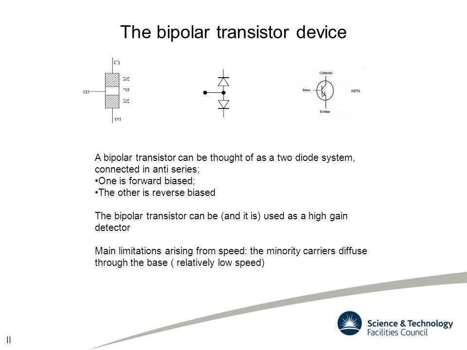 The bipolar transistor device A bipolar transistor can be thought of as a two diode system, connected in anti series; One is forward biased; The other