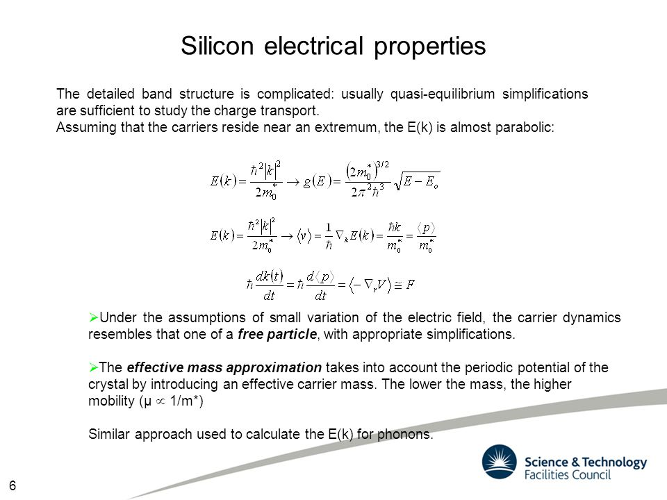 Silicon electrical properties The detailed band structure is complicated: usually quasi-equilibrium simplifications are sufficient to study the charge