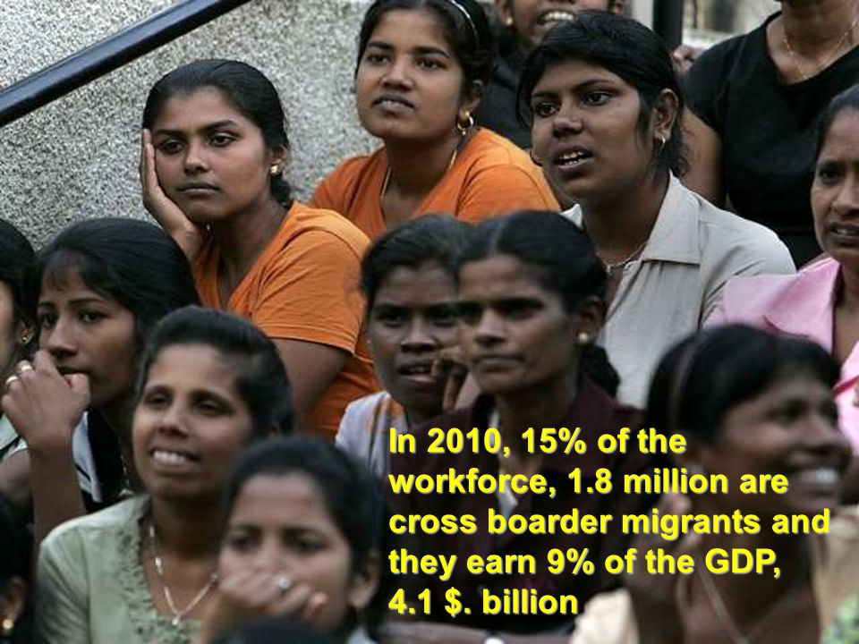, 9% of the GDP In 2010, 15% of the workforce, 1.8 million are cross boarder migrants and they earn 9% of the GDP, 4.1 $. billion