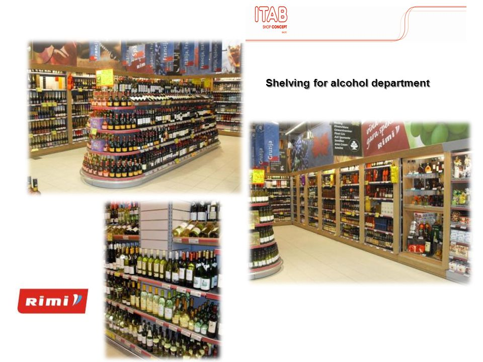 Shelving for alcohol department