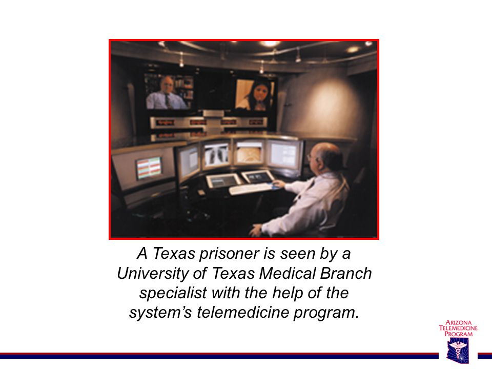 A Texas prisoner is seen by a University of Texas Medical Branch specialist with the help of the system's telemedicine program.
