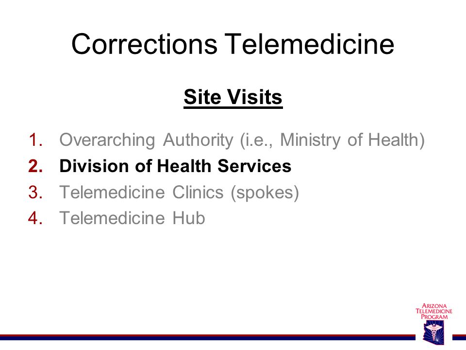 Corrections Telemedicine Site Visits 1.Overarching Authority (i.e., Ministry of Health) 2.Division of Health Services 3.Telemedicine Clinics (spokes)