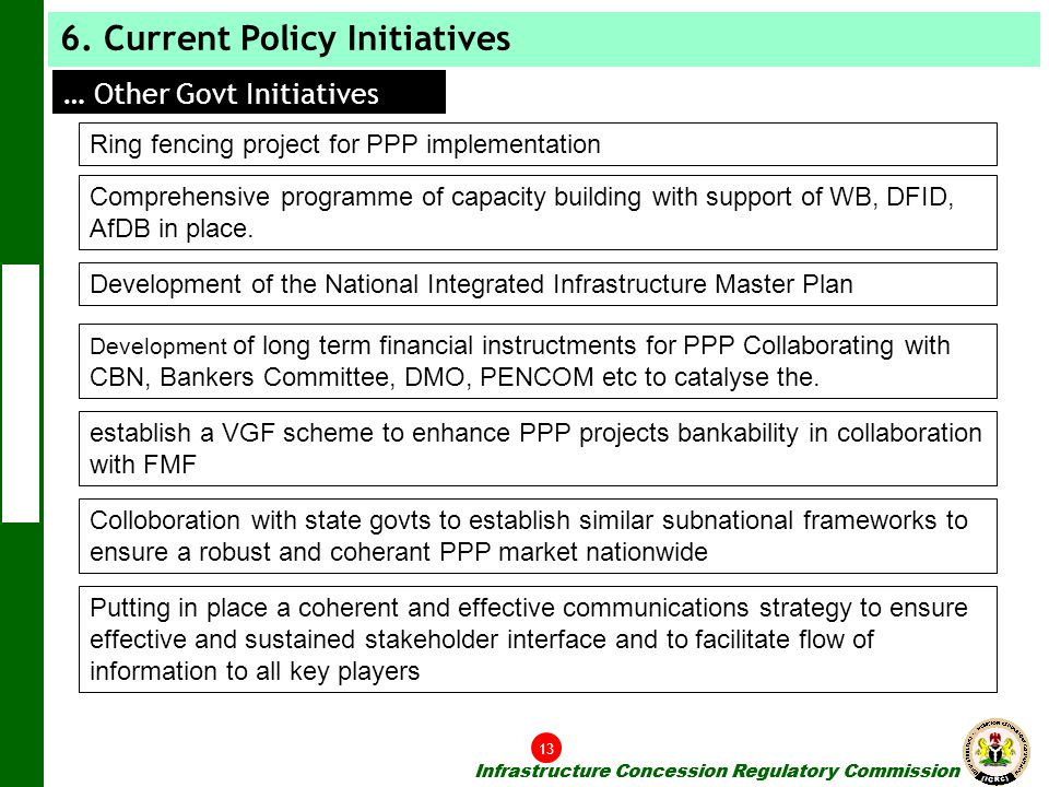Infrastructure Concession Regulatory Commission Ring fencing project for PPP implementation Comprehensive programme of capacity building with support of WB, DFID, AfDB in place.