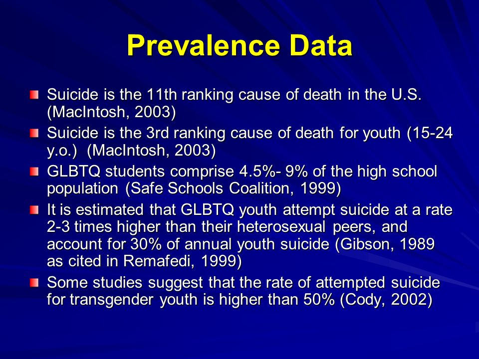 Prevalence Data Suicide is the 11th ranking cause of death in the U.S.