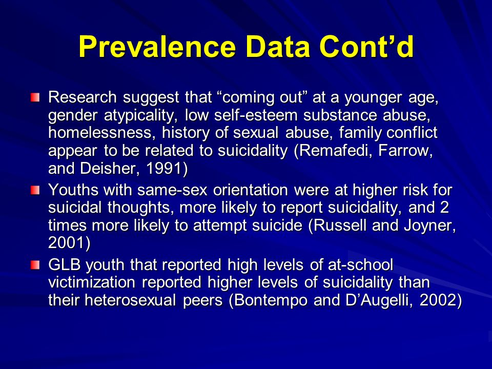 Prevalence Data Cont'd Research suggest that coming out at a younger age, gender atypicality, low self-esteem substance abuse, homelessness, history of sexual abuse, family conflict appear to be related to suicidality (Remafedi, Farrow, and Deisher, 1991) Youths with same-sex orientation were at higher risk for suicidal thoughts, more likely to report suicidality, and 2 times more likely to attempt suicide (Russell and Joyner, 2001) GLB youth that reported high levels of at-school victimization reported higher levels of suicidality than their heterosexual peers (Bontempo and D'Augelli, 2002)