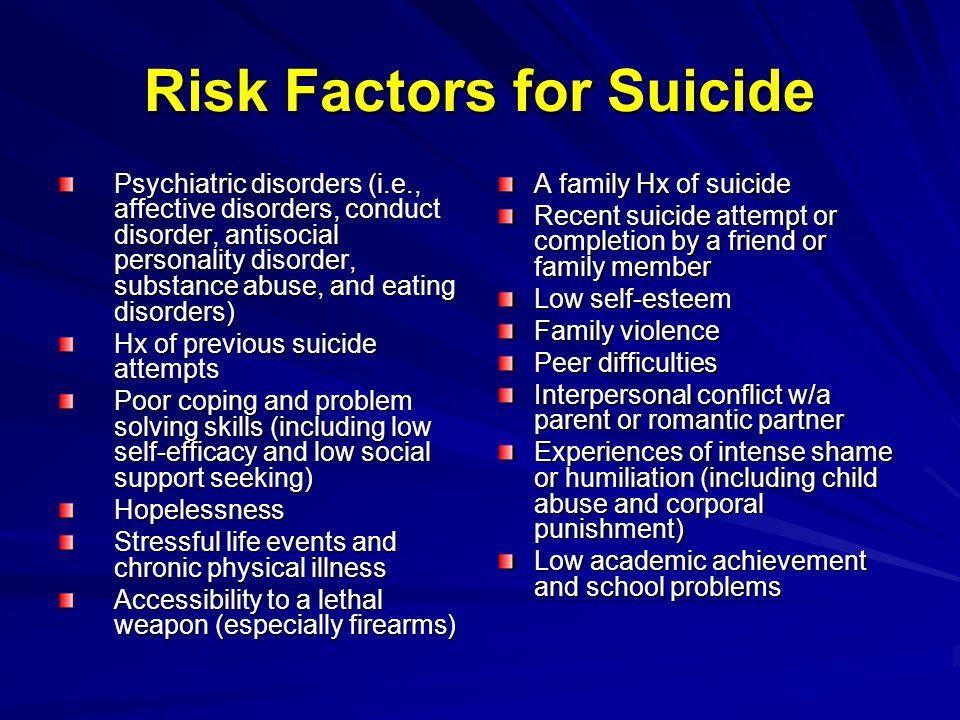 Risk Factors for Suicide Psychiatric disorders (i.e., affective disorders, conduct disorder, antisocial personality disorder, substance abuse, and eating disorders) Hx of previous suicide attempts Poor coping and problem solving skills (including low self-efficacy and low social support seeking) Hopelessness Stressful life events and chronic physical illness Accessibility to a lethal weapon (especially firearms) A family Hx of suicide Recent suicide attempt or completion by a friend or family member Low self-esteem Family violence Peer difficulties Interpersonal conflict w/a parent or romantic partner Experiences of intense shame or humiliation (including child abuse and corporal punishment) Low academic achievement and school problems