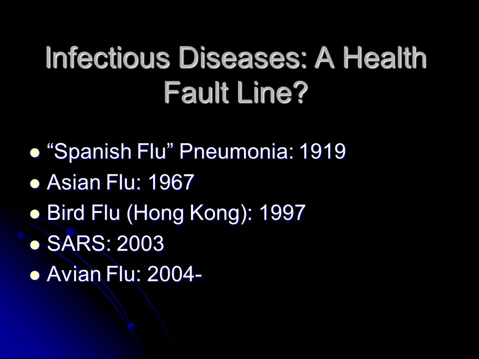 Infectious Diseases: A Health Fault Line.