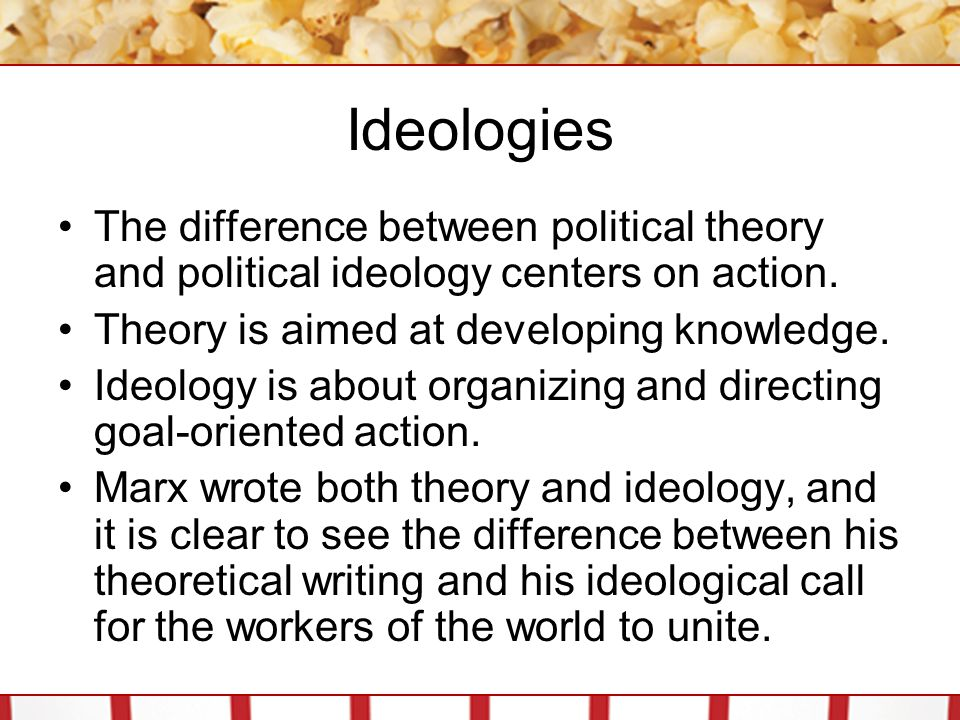 Ideologies The difference between political theory and political ideology centers on action. Theory is aimed at developing knowledge. Ideology is abou