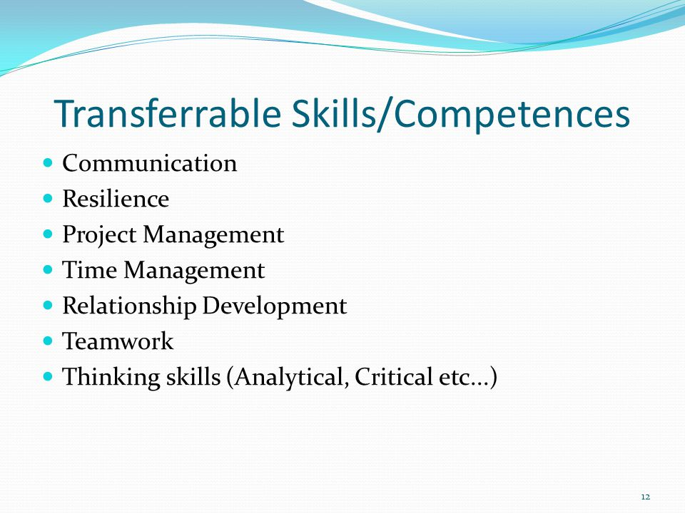 Transferrable Skills/Competences Communication Resilience Project Management Time Management Relationship Development Teamwork Thinking skills (Analytical, Critical etc...) 12