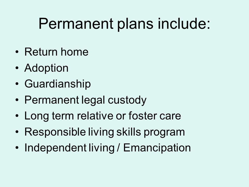 Permanent plans include: Return home Adoption Guardianship Permanent legal custody Long term relative or foster care Responsible living skills program