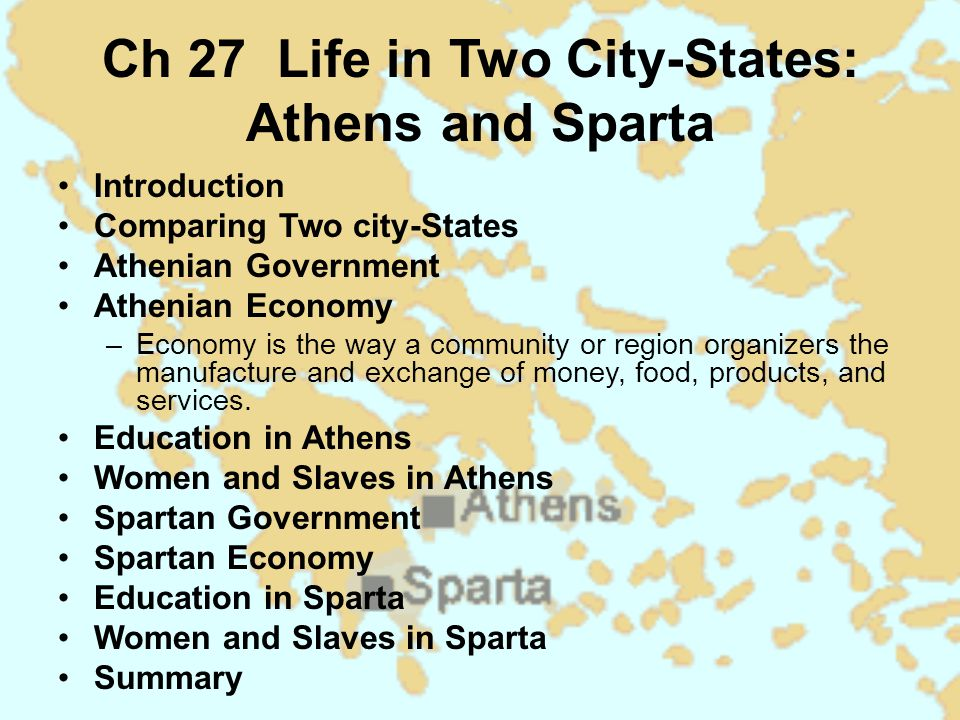 a comparison and contrast on the ideas about the government affecting the governing of sparta and at Sparta vs athens in ancient greece there were two different major forms of government, oligarchy and democracy the two city-states that best represent each.