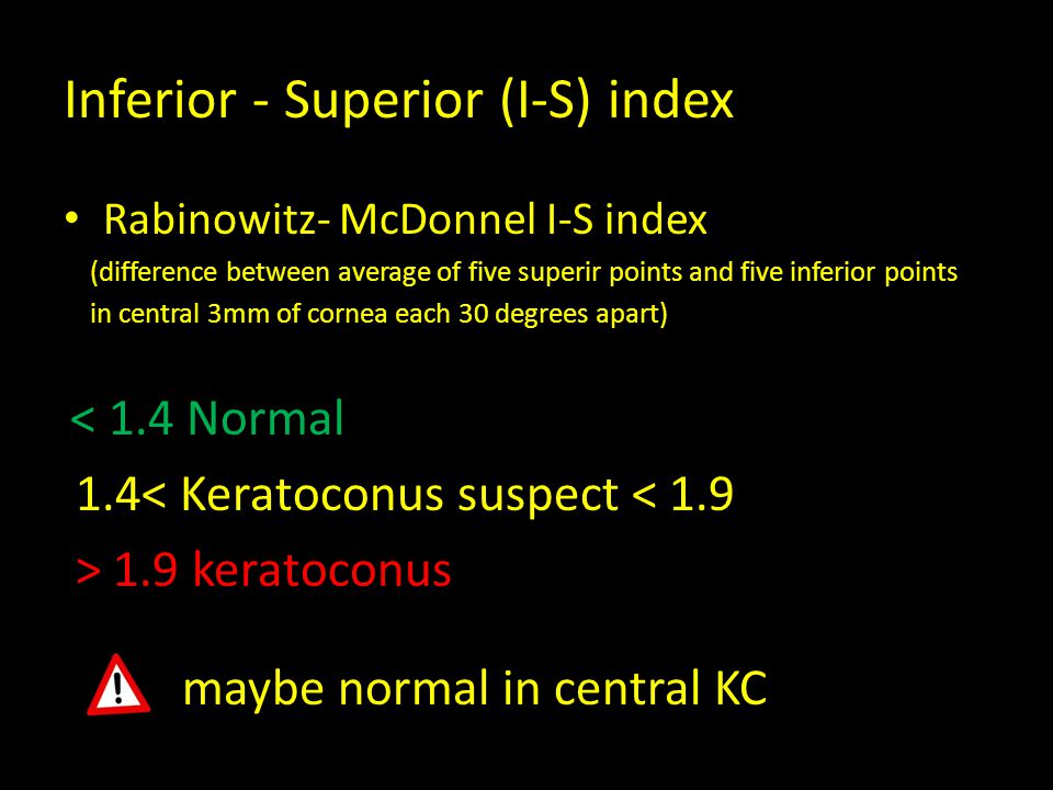 Inferior - Superior (I-S) index Rabinowitz- McDonnel I-S index (difference between average of five superir points and five inferior points in central 3mm of cornea each 30 degrees apart) < 1.4 Normal 1.4< Keratoconus suspect < 1.9 > 1.9 keratoconus maybe normal in central KC