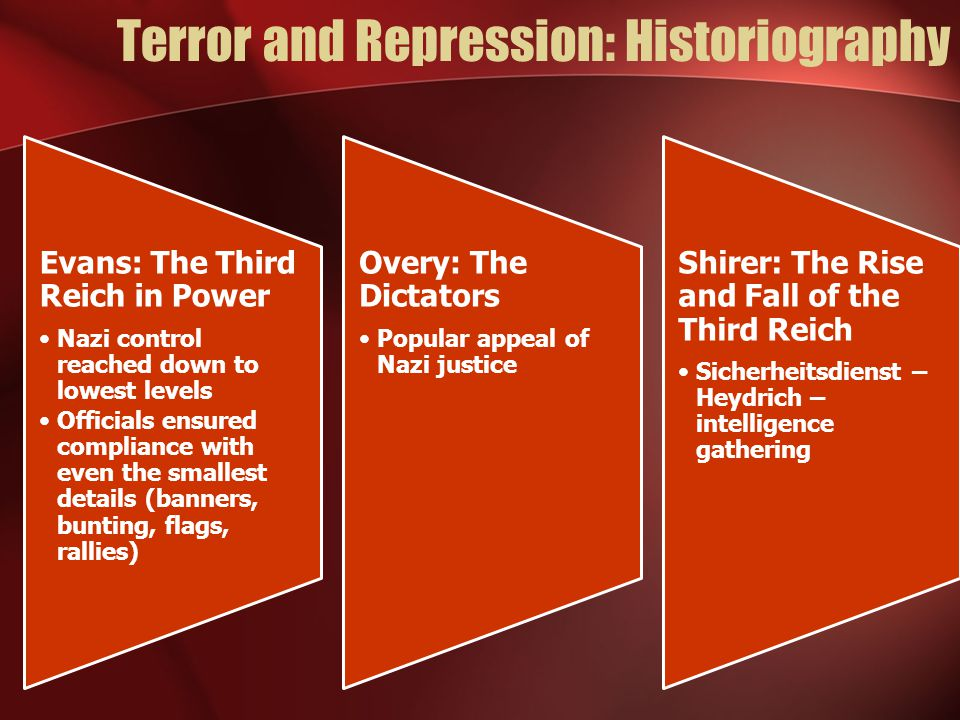 Terror and Repression: Historiography Evans: The Third Reich in Power Nazi control reached down to lowest levels Officials ensured compliance with even the smallest details (banners, bunting, flags, rallies) Overy: The Dictators Popular appeal of Nazi justice Shirer: The Rise and Fall of the Third Reich Sicherheitsdienst – Heydrich – intelligence gathering