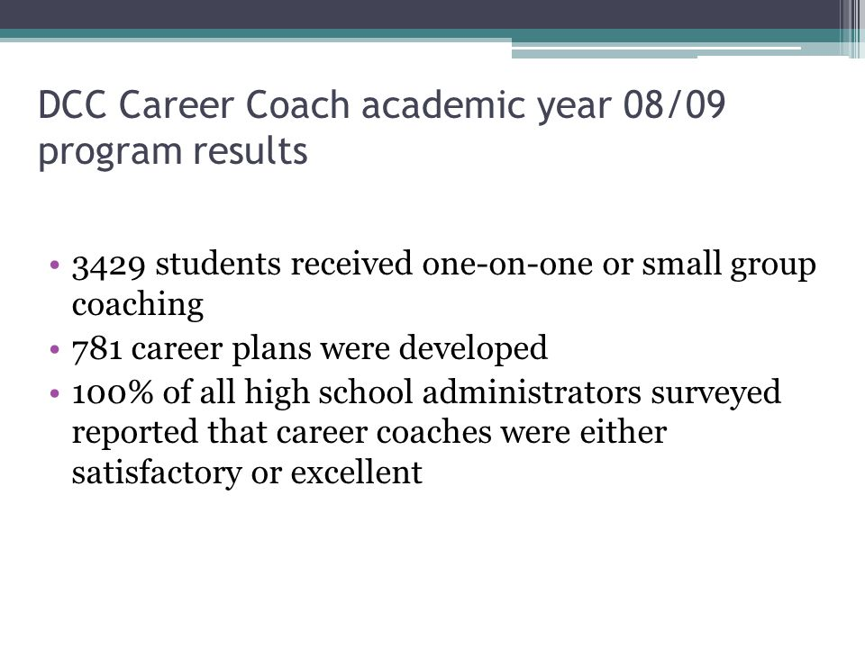 DCC Career Coach academic year 08/09 program results 3429 students received one-on-one or small group coaching 781 career plans were developed 100% of all high school administrators surveyed reported that career coaches were either satisfactory or excellent