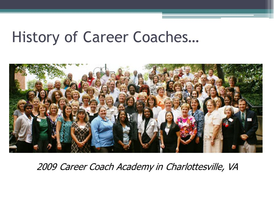 History of Career Coaches… 2009 Career Coach Academy in Charlottesville, VA